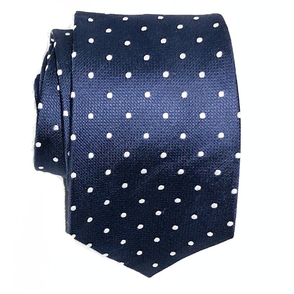 T.M.Lewin Other - T.M. Lewin All Silk Navy Polka Dot Tie